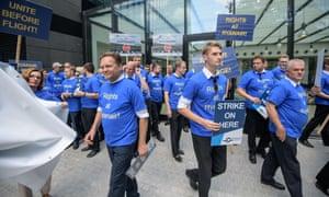 Striking Ryanair pilots in Frankfurt, Germany, last year.