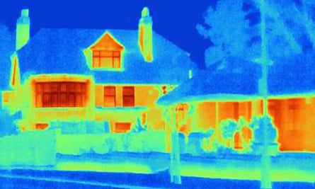 Thermal image of houses on a city street