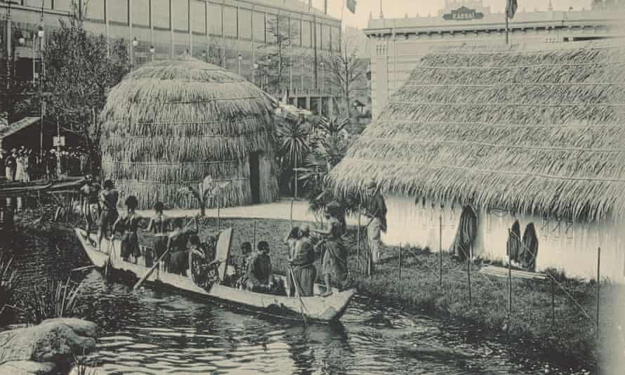 View of Congolese mock village with pond, Antwerp, 1894.