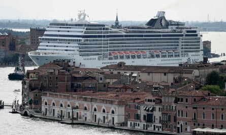 A cruise ship in the Venice Lagoon in June last year