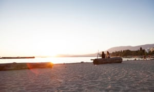 Sunset on English Bay beach - West End, Vancouver, British Columbia, Canada