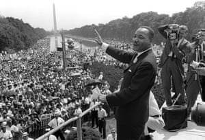 Martin Luther King on the steps of the Lincoln Memorial on 28 August 1963 during the March on Washington at which he gave his 'I have a dream' speech.