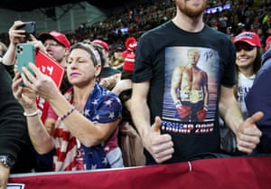 Milwaukee, US. Supporters of President Donald Trump at a campaign rally at the University of Wisconsin-Milwaukee