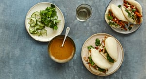 Party bao with sweet potato and pickled cucumber.