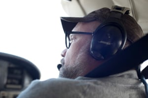 Park County, Montana: Joe Josephson, 50, Montana Conservation Associate for the Greater Yellowstone Coalition and member of Yellowstone Gateway Business Coalition, in the co-pilot seat of Bruce Gordon's Cessna Centurion.