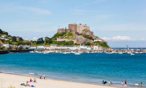 Gorey Beach and Mont Orgueil Castle in Jersey