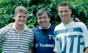 Terry Venables shows off new signings Paul Gascoigne and Paul Stewart in July 1988.