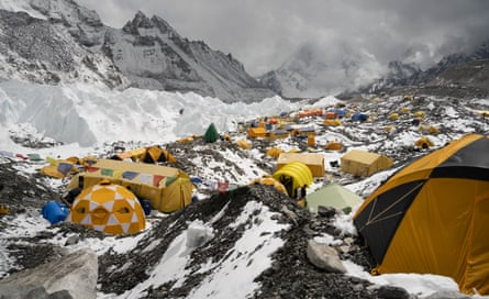 A view of Everest Base Camp, where the highest concentration of microplastics was found.