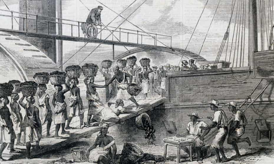 An illustration depicting slaves loading coal in Morant Bay, Jamaica, in the 18th century.
