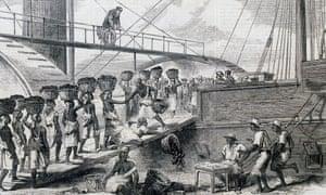 Loading coal in Morant Bay, Jamaica, 18th century.