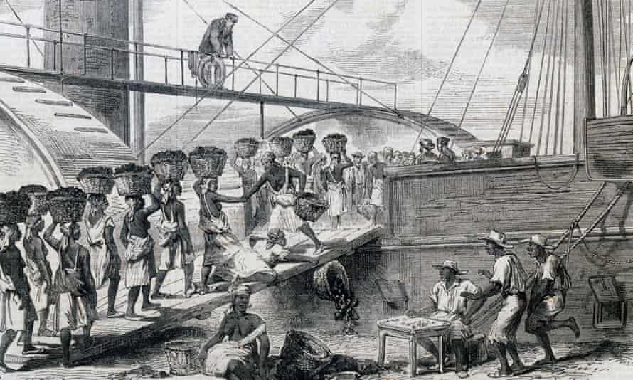 Slaves load coal in 18th-century Morant Bay, Jamaica.