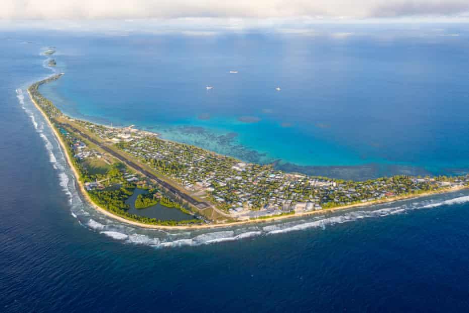 An aerial view of Fongafale island, the home to the Tuvaluan capital of Funafuti
