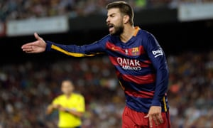 Barcelona's Gerard Piqué was sent off following his rant at a referee's assistant during his side's Spanish Super Cup second leg against Athletic Bilbao