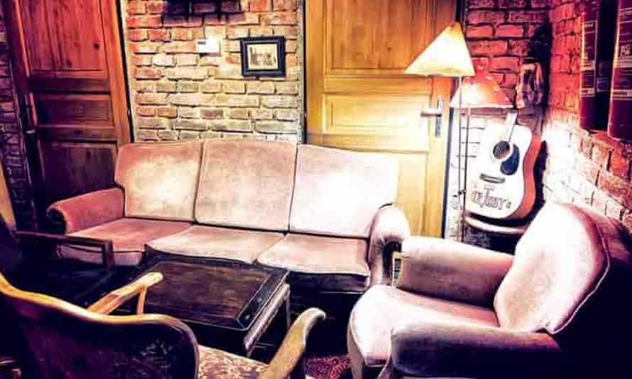 Retro seating in Sir Toby's, Prague.