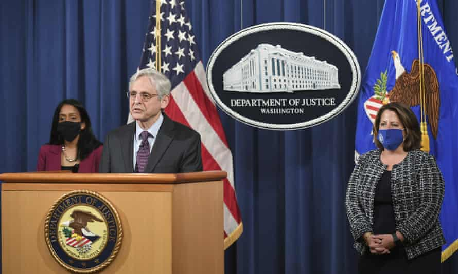 Merrick Garland speaks at the Department of Justice in Washington, 26 April 2021.