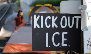 Protesters in Portland, Oregon, pitch tents outside the Immigration and Customs Enforcement (Ice) office.