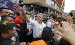 Ivan Duque holds a campaign rally in Armenia, Colombia Sunday.
