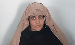 Sharbat Gula before her court hearing in Peshawar