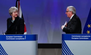Theresa May and Jean-Claude Juncker at a press conference in Brussels.