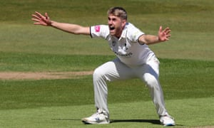 Howzat? Olly Stone with the big appeal at Edgbaston.