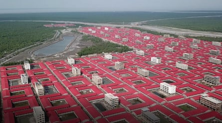 An aerial view of buildings intended to accommodate members of the Rohingya refugee community on the island of Bhasan Char in the Bay of Bengal