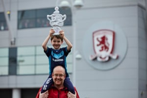 Mark Sainsbury and six year son George with their tin foil FA Cup.
