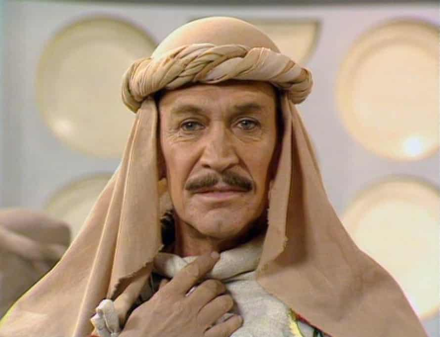 Peter Wyngarde in the Tardis in 1984 Doctor Who story Planet of Fire