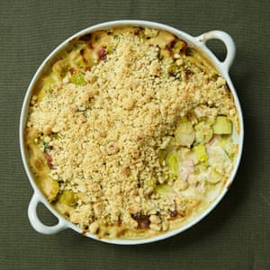 Sprout, leek and bacon gratin with a crumble topping.
