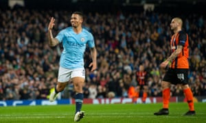 Manchester City's Gabriel Jesus celebrates scoring his third – and his sixth – in the rout of Shakhtar Donetsk.