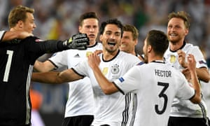 Quarter final Germany vs Italy<br>epa05404618 Germany players react after winning the penalty shoot-out during the UEFA EURO 2016 quarter final match between Germany and Italy at Stade de Bordeaux in Bordeaux, France, 02 July 2016.  (RESTRICTIONS APPLY: For editorial news reporting purposes only. Not used for commercial or marketing purposes without prior written approval of UEFA. Images must appear as still images and must not emulate match action video footage. Photographs published in online publications (whether via the Internet or otherwise) shall have an interval of at least 20 seconds between the posting.)  EPA/VASSIL DONEV   EDITORIAL USE ONLY