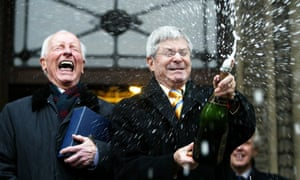 Roger Lockyer, left, and Percy Steven after their civil partnership ceremony in Westminster, central London, in 2005.