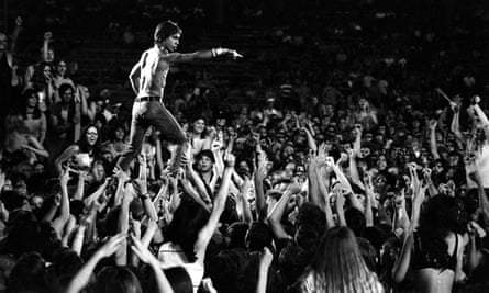 'One of the great images in rock history: he looks fantastic, simultaneously feral and majestic, heroic' ... Iggy Pop during the Stooges' performance at the Cincinnati Pop festival, 23 June 1970.