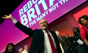 British Labour party leader Jeremy Corbyn waves to supporters after he delivers a keynote speech at the Labour party conference in Liverpool, Britain