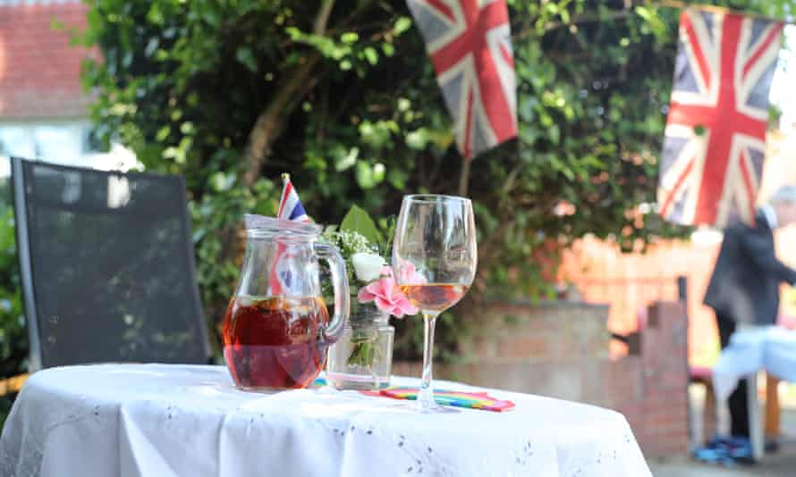 jug of Pimms on a table outdoors