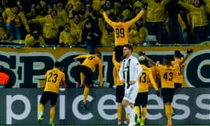 Guillaume Hoarau celebrates his and Young Boys' second goal in their win over Juventus.