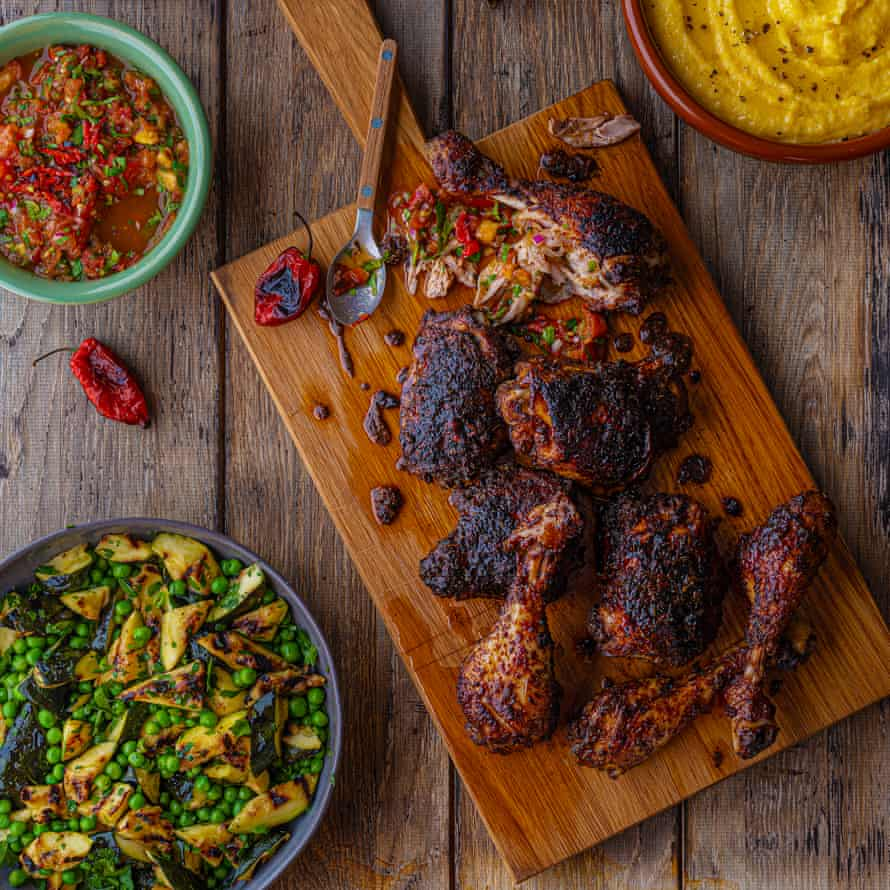 Barbecue jerk chicken, burnt scotch bonnet salsa, wet polenta, salad of peas, courgettes, parsley.