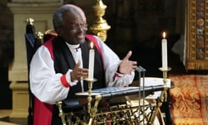 Bishop Michael Curry speaks during the wedding of Prince Harry and Meghan on 19 May.