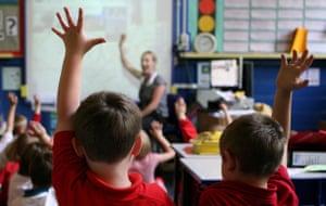 Primary school children in a classroom