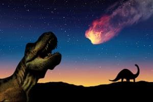 Mexico. Illustration of a comet landing on Earth, near dinosaurs