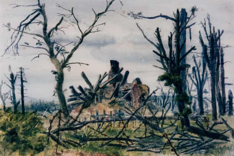 Contalmaison Church, Somme, 13 October 1916.