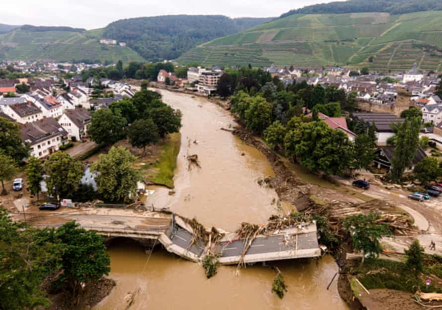 An aerial view taken with a drone shows a damaged bridge in Bad Neuenahr-Ahrweiler, Germany.