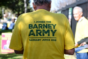 A volunteer for Barnaby Joyce at Tamworth public school. Joyce, the deputy prime minister and leader of the National party, is facing strong competition from the independent Tony Windsor, who held the seat of New England from 2001 to 2013