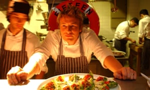 Jamie Oliver in 2002 at the launch of Fifteen in London.