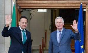 Leo Varadkar (left) with Michel Barnier outside Government Buildings in Dublin this morning.