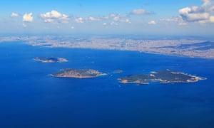 Three of the Princes' Islands (Heybeliada, Burgazada and Kinaliada) are seen from above.