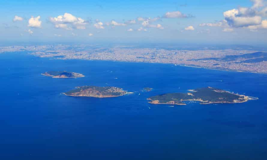 Three of the Princes' Islands (Heybeliada, Burgazada and Kınalıada) are seen from above.
