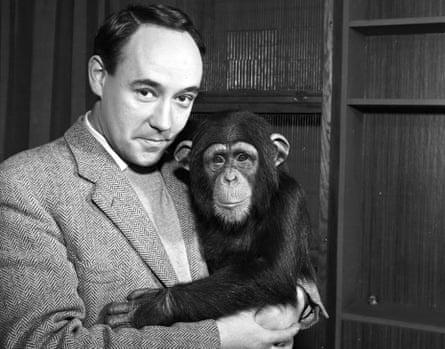 Desmond Morris and a chimpanzee in 1961