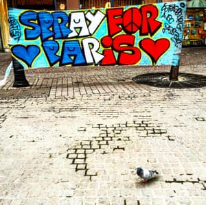 This mural in Strasbourg lends its support to the #SprayforParis movement.