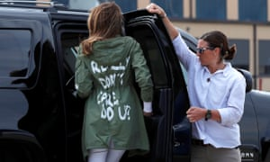 Melania Trump arrives back in Washington from Texas wearing a jacket emblazoned with the phrase 'I Really Don't Care. Do U?'