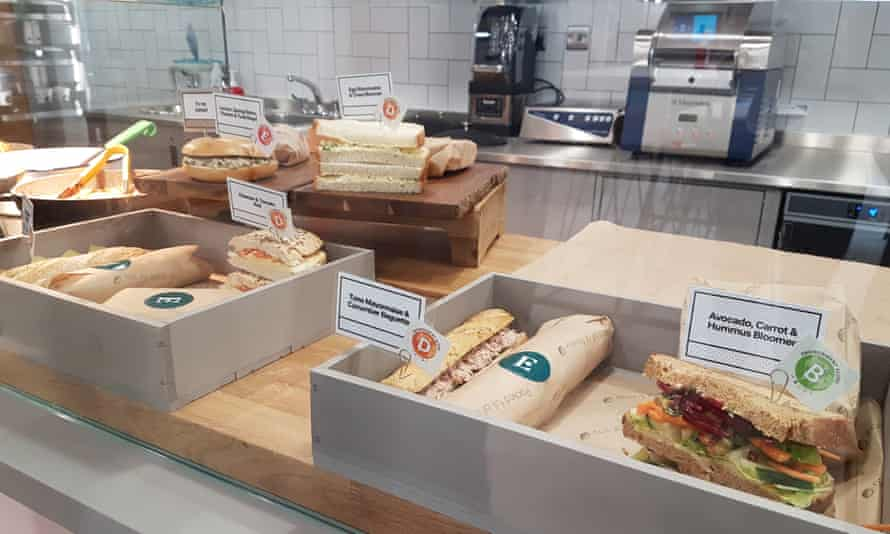 Sandwiches and other eco-labelled offerings.